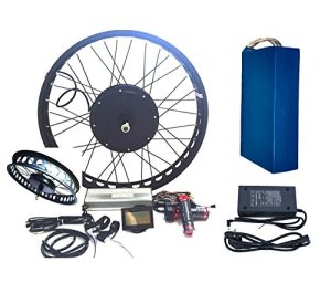 Theebikemotor 3000W Hub Motor 72V35AH Panasonic Cell Li-on Batterie vélo électrique Moteur Kit de Conversion pour Cyclisme + LCD (26″ x 4.0, Rear Wheel + 7 Speed Gear)