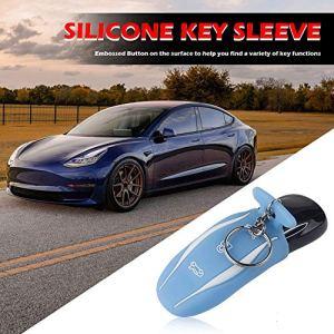 Yanten Silicone Key Fob Couverture pour Tesla Model S 3 à Distance Protector Key Case (Bleu)