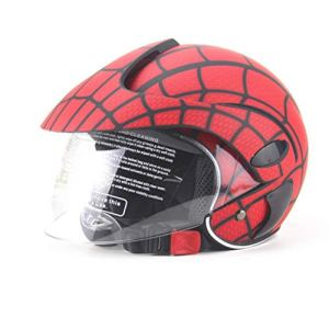 4U4 Casque pour Enfants Garçon Fille Spider Web Casque Moto électrique Harley Saison Casque,A