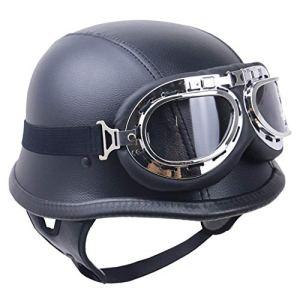 Cuir Harley moto entrouvertes Casque Rétro Vintage Armée-Style avec lunettes (Size : M (57CM~58CM))
