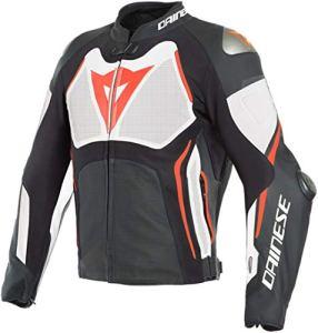 Dainese Tuono D-Air Veste de moto en cuir perforée Noir/blanc/rouge 52