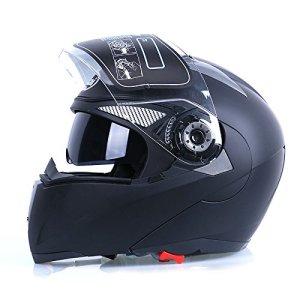 Frenshion Casque de moto pour homme Unisex Casques de moto-cross noir Frosted Full Face Visière Double Visage Off Road Lens L 60-61 CM