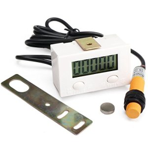 geree numérique LCD Compteur 0–99999calibre chiffres panneau avant compteur numérique 5chiffres aux chocs Punch Testeur Compteur électronique totalizer avec interrupteur à induction magnétique, LCD Display, 1