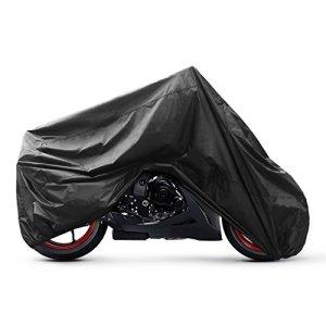 GHB XL Houssede Protection Moto Couverture Imperméable Anti-UV en Polyester 190T pour Moto, Scooter XL 245 x 105 x 125cm – Noir
