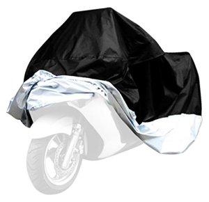 Housse de protection respirante pour moto Étanche et anti-UV Sac de rangement inclus Noir/argenté Taille XL