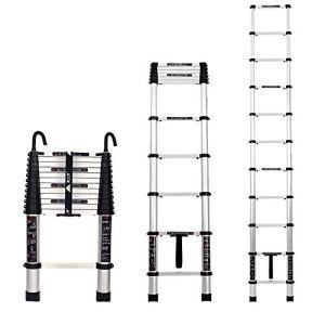 JGJ Escabeau Pour Adultes Échelle de Rallonge En Alliage D'Aluminium Pour Attelage Échelle Multifonctionnelle À Crochet À 1 Bouton (Amovible) / 4.9m Straight ladder + Hook