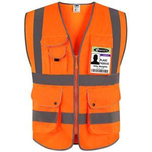 JKSafety 9 poches de classe 2″gilet de sécurité haute visibilité devant avec des bandes réfléchissantes, orange répond aux normes EN ISO 20471 – Unisexe(Moyen)