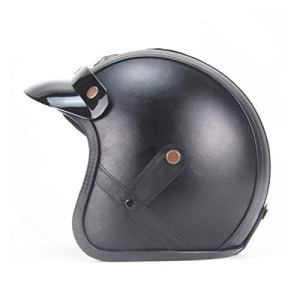 Leoboone Casque de moto demi-visage en cuir 3/4