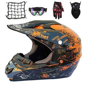 NKFDLY-Casque de Moto pour Enfant Motocross Off-Road Casque,Casque Moto Cross/Goggle/Gants/Masque/Filet à Elastique, 5 Pcs (S)