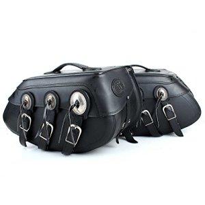 Sacoches de selle Noir Conchos Moto poches cuir large Set 55cm Lot de 2