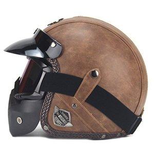 SHANLY Unisexe Moto Demi Casques Ouvert Visage Vélo BMX Off-Road Cuir Ouvert ECE/Dot Certifié Casque De Moto avec Masque,Brown-M