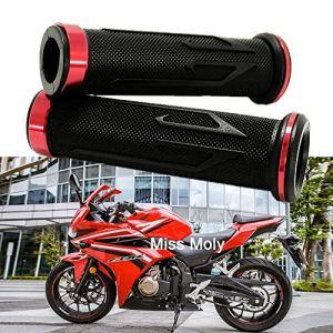 7/8″ 22mm Poignée de Moto, Aluminium Motorcycle Caoutchouc Poignées pour CBR Shadow Ninja GSXR YZF (Rouge)