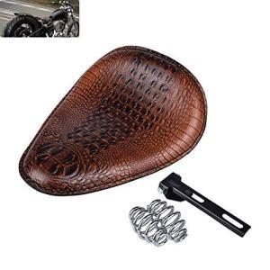 Alician Selle de Moto Universelle en Cuir Crocodile Selle Solo Coussin de Selle pour / Honda / Yamaha / Kawasaki Marron/Noir