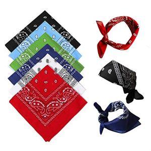 Bandanas pour hommes paquet de 6, bandeaux en coton paisley, écharpe de cowboy, bandanas carrés, parfaits pour le cyclisme hip-hop – également en tant que mouchoir / foulard