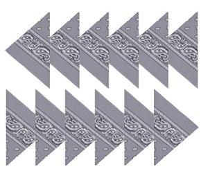 Boolavard Coton, 1er 6 ou 12 Pack Bandanas avec motif Paisley original | Couleur au choix (12 Gris)