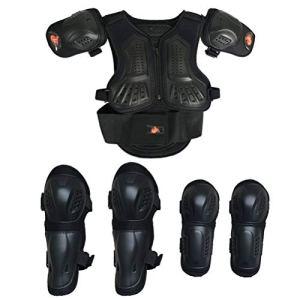 Combinaison de moto pour enfant Dirt Bike – Protection de la poitrine, de la colonne vertébrale – Épaule – Bras, coudes, genoux, motocross, ski, patinage, gilet de sécurité – 3 couleurs, Noir , xs