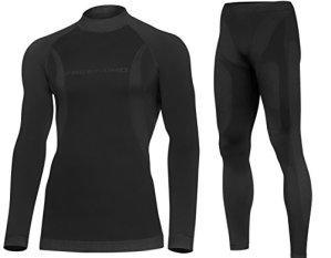 DRYTECH Thermo Set Sous-Vêtement de Fonction Long Hommes – Sans Couture Bodymapping (Black, XXL)