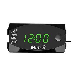 Dubleir 3 in 1 Numérique Horloge Moto Thermomètre Voltmetre Digitale Guidon Mount IP67 Étanche Montre Moto avec Affichage Grand Écran, 12v/24v (Vert)