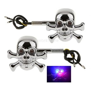 gazechimp 2PCS Moteur Skull Head Turn Signal Indicateur Light Lamp 4X Red Blue LED