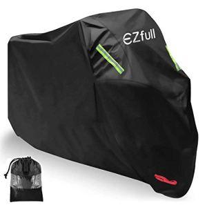 Housse Protection pour Moto, Ezfull Couverture Polyester 210D Résistant aux déjections d'oiseaux, à l'eau, à la Poussière/Neige/Pluie, au Vent, UV (245 * 105 * 125cm) Couleur: Noir