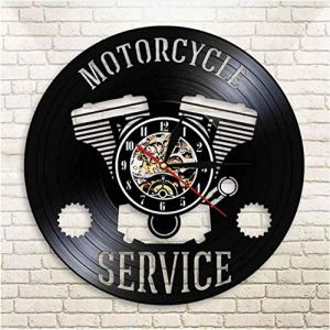mbbvv Moto Service Disque Vinyle Conception Horloge Murale Moto Réparation CD Vinyle Disque Mur Montre Garage Atelier 3D Suspendus Horloge-avec_LED