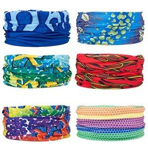 Multifonctions Magic 12 en 1 Bandeau Foulard Bandana écharpe Anti-Insectes UV [Paisley] Bracelet, Casque, Cagoule, Bandeau, Cache-Cou,Anti-Vent Protection Tête(6PCS)