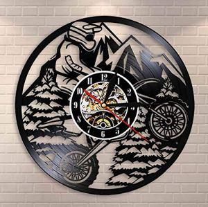 XZXMINGY Horloge en Vinyle Moto Mountain Rider Extreme Riding Riders Racing BMX Horloge Murale Motocross Moto Dirt Bike Disque Vinyle Horloge Murale Cadeau