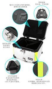 55L 65L aluminium moto bagages Valise de rangement Top Boîte à outils Casque arrière de verrouillage du coffre universel for Honda Suzuki Kawasaki Yamaha (Color : 65L Black)