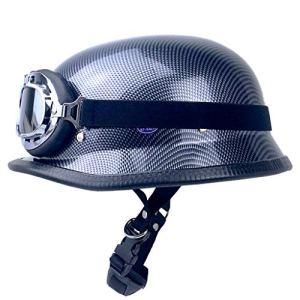 CHAOYUE Casque de Moto avec Lunettes, Demi-Casque rétro Moto Ouvert Casque Chopper Biker Pilot, approuvé Dot, Taille M-XL (Couleur: Imitation Fibre de Carbone)