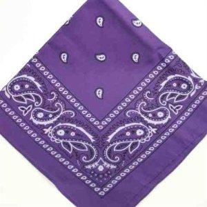 Grand bandana carré Motif cachemire blanc sur fond violet