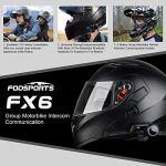 Intercom Moto Bluetooth, FODSPORTS FX6 Casque Kit Moto Main Libre Écouteur,1000M 6 Riders Group des moto Communication Systèmes Bluetooth, Intercom sans fil universel