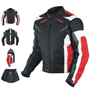 Moto CE Protections Textile Blouson Manchon Démontable Gilet Termique Rouge M