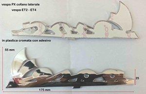 Plaque pour piaggio vespa pX longue 175x 55x 25mm PVC autocollant chromé