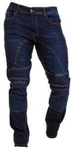 Qaswa Homme Moto Jeans Motards Pantalon Renforcée Aramide Protection Motorcycle Pants, Dark Blue, 38W / 34L