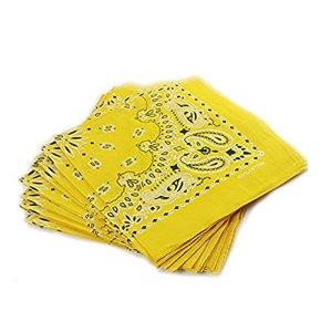 Trebien 12PCS Bandana Foulard Original Paisley Multicolore 100% Coton Bandana Bandannas Fichu Mouchoir Echarpe Cadeau Homme Femme Noël (55cm*55cm) (jaune)