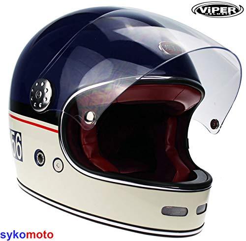 Viper F656 Fibre DE Verre INTEGRAUX Moto CVIPER F656 Fibre DE Verre INTEGRAUX Moto Chopper Retro Cruiser Bobber Vintage Casque Gringo ECE APPROUVÉ Bleu (M (57-58 CM))