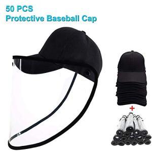 ZHENGNING Masque de Protection 50 PCS Splash Anti-Cracher Anti-Brouillard Anti-Huile de Protection Amovible Casquette de Baseball Masque Visage Bouclier (Color : Black)