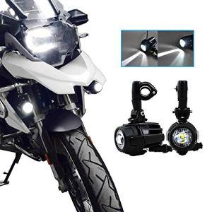 2 x LED Phare Auxiliaire Lampe Avant Feux Brouillard 40W IP67 DRL avec Support pour R1200 GS X-ADV 750 Universal Moto