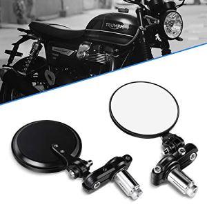Aolead Retroviseurs Moto 7/8″ 22mm Guidon Latéraux Miroirs pour Sport Moto Scooter – Rond Noir
