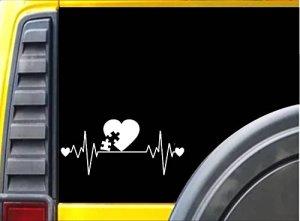 L'autisme Lifeline K25820,3cm Autocollant puzzle Heartbeat Autocollant