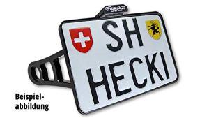 Motorize-HeinzBikes Side Mount Support de Plaque d'immatriculation chromé Softail à partir de 2018, CH, avec éclairage de Plaque minéralogique à LED