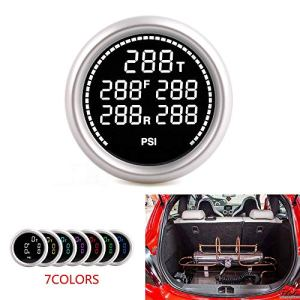 Nologo Jauge de Carburant 2inch 52 mm 7COULEURS Suspension pneumatique jauge de Pression et Deux PSI Bar Air Ride Gauge avec 5pieces 1 / 8NPT Capteurs électriques QPLNTCQ