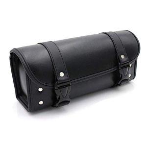Sacoches Moto Sac à Outils Rond Sac Fourchette en Cuir PU – Noir