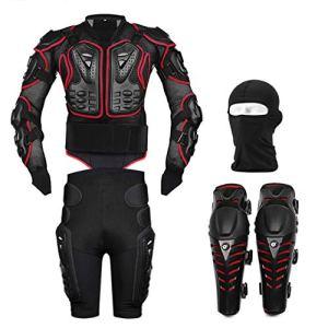 Veste de Moto Body Armor Équipement de Protection + Pantalon Pantalon Protecteur de Hanche + Genouillères Motocross + Ensemble de Masque pour Le Visage Red XXL