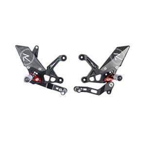 Commandes reculées réglables/repliables LIGHTECH Racing sélection standard et inversée noir/rouge Kawasaki Z900