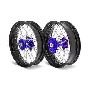 Kit roues complètes avant + arrière ART SM 17×3,50/17×4,50 jante noir/moyeu bleu Yamaha