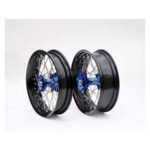 Kit roues complètes avant + arrière ART SM 17×3,50/17×4,50 jante noir/moyeu bleu/rayons argent/têtes de rayons argent