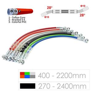 Ligne de tuyau de tube de tuyau de frein hydraulique tressé 10mm trou 400-2200mm (Silver(argent)/900mm)