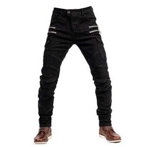 Yuanu Jeans Hommes Pantalon Moto Décontractée Équitation Couleur Unie Slim Fit Pantalons en Denim pour Toutes Les Saisons avec Équipement De Protection 4 * (Inclus dans Le Pantalon) Noir 2XL