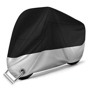 Alfheim Housse Protection pour Moto – Couvertures Respirantes imperméables de Moto de Tissu d'Oxford 210D avec 2 Trous de Serrure Antivol-UV/Neige/Pluie/Rouille – Anti-poussière pour Honda,Yamaha,XXL